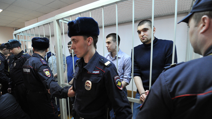 The accused in participating in the mass riots on Bolotnaya Square on May 6, 2012, during the announcement of the verdict at the Moscow Zamoskvoretsky Court (RIA Novosti /  Sergey Kuznecov)