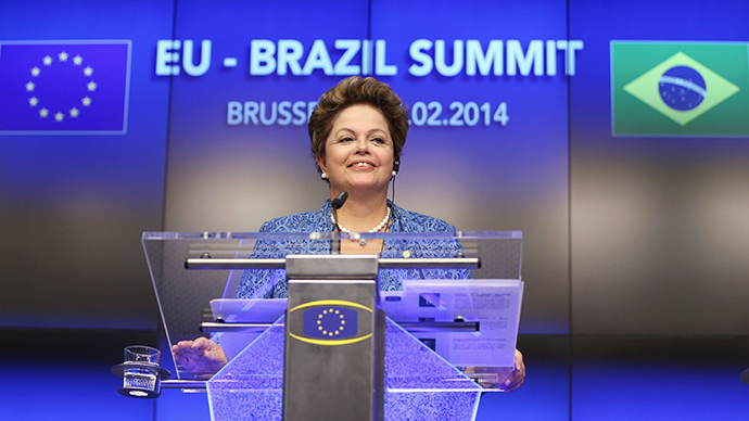 Brazil's President Dilma Rousseff speaks at a joint news conference with European Council President Herman Van Rompuy and EU Commission President Jose Manuel Barroso (unseen) during an EU-Brazil summit in Brussels February 24, 2014 (Reuters / Francois Lenoir)
