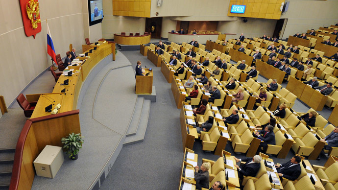 Russian State Duma deputies during the lower house plenary meeting. (RIA Novosti/Sergey Kuznecov)