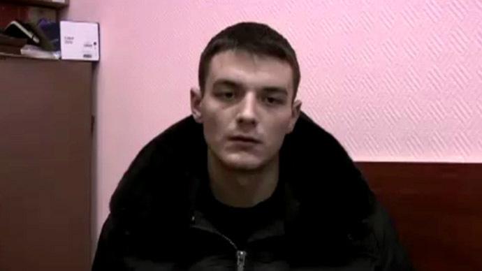 Vladislav, an alleged activist of Right Sector group. Still from Rossiya 24 footage.