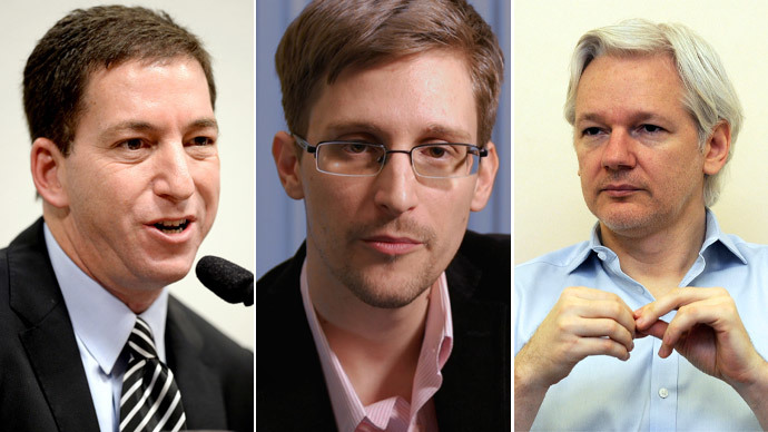 Glenn Greenwald, Edward Snowden, Julian Assange.(AFP Photo / Evaristo Sa / Channel 4 / Anthony Devlin)