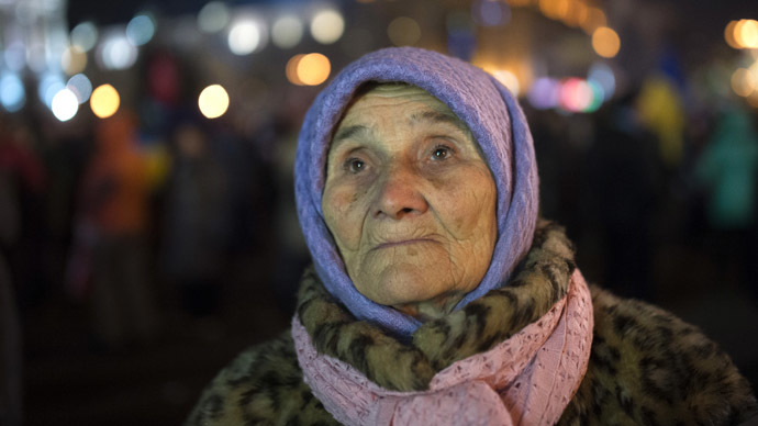 A participant in a rally in support of Ukraine's integration with the EU, on Kiev's Independence Square. (RIA Novosti/Iliya Pitalev)