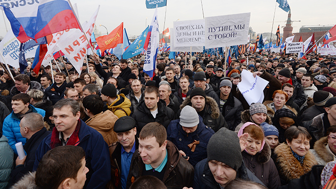 "Participants in the ""We Are Together"" rally and concert to support the residents of the Crimea, at Vasilyevsky Slope, Moscow on March 7, 2014. (RIA Novosti / Mikhail Voskresenskiy)"