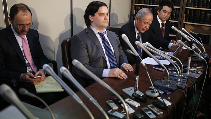 Mark Karpeles (2nd L), chief executive of Mt. Gox, attends a news conference at the Tokyo District Court in Tokyo February 28, 2014 (Reuters / Yuya Shino)