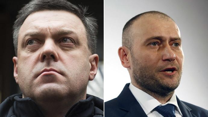 Oleh Tyahnybok, Dmytro Yarosh.(RIA Novosti / Iliya Pitalev / AFP Photo / Yury Kirnichny)
