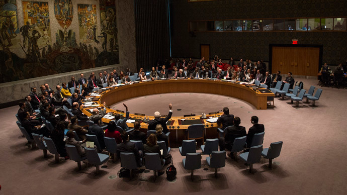 A vote regarding the Ukrainian crisis is taken at the UN Security Council in New York March 15, 2014. (Reuters / Andrew Kelly)