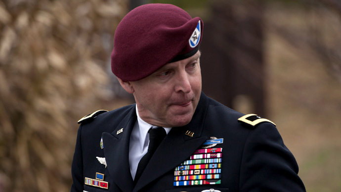 Brig. Gen. Jeffrey Sinclair leaves the Fort Bragg Courthouse after sexual assault charges against him were dropped after he plead to lesser charges March 17, 2014 in Fort Bragg, North Carolina (AFP Photo /  Davis Turner)