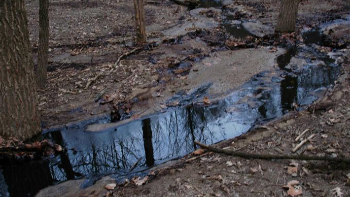 Crude oil that leaked from a pipeline in the Oak Glen Nature Preserve early Tuesday.  (Provided / EPA)