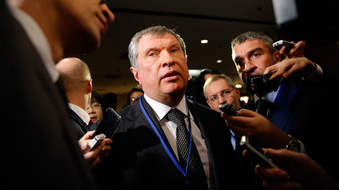 Rosneft Chief Executive Officer Igor Sechin speaks to the media after attending the Japan-Russia investment forum in Tokyo March 19, 2014. (Reuters / Toru Hanai)