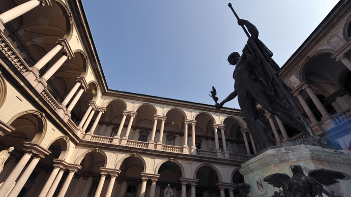"Entrance of ""Pinacoteca di Brera"" gallery in Milan (AFP Photo / Giuseppe Cacace)"
