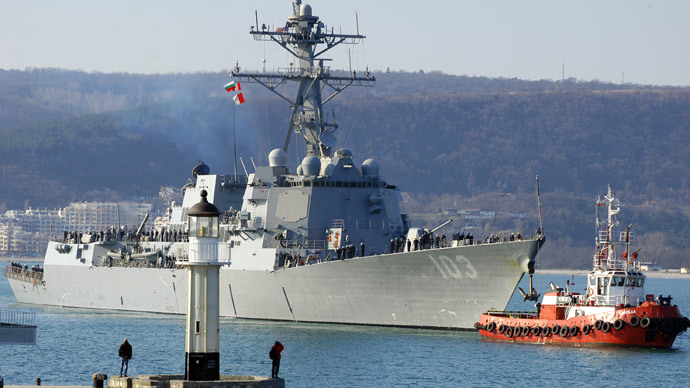 "The US Navy destroyer ""USS Truxtun"" enters the Black Sea port (AFP Photo / Anton Stoyanov)"
