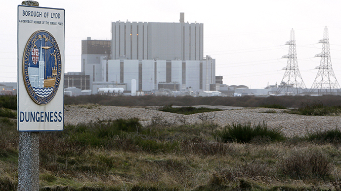 A sign is displayed near Dungeness nuclear power station in southern England (Reuters / Toby Melville)