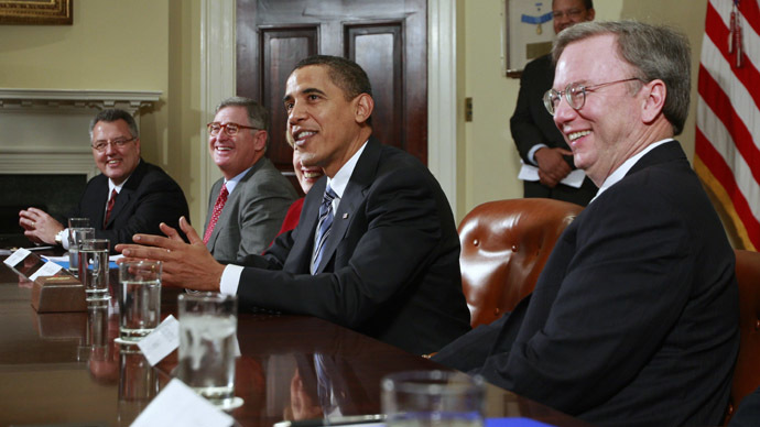 U.S. President Barack Obama (C) speaks to the media alongside Google CEO Eric Schmidt (R) and other company CEOs during an economic meeting in the Roosevelt Room of the White House in Washington (Reuters/Jason Reed)