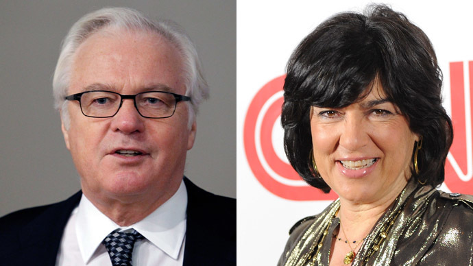 Russian Ambassador to the United Nations Vitaly Churkin (L) and Journalist Christiane Amanpour (Reuters/AFP Photo)