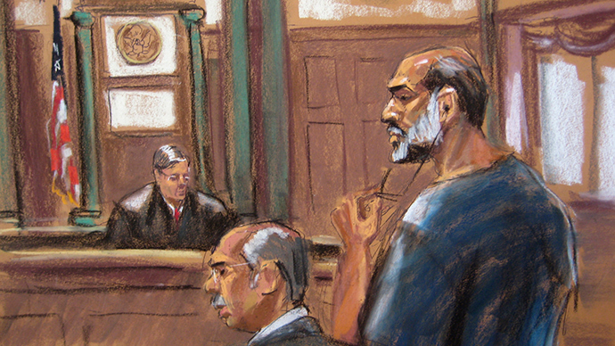 An artist sketch shows Suleiman Abu Ghaith, a militant who appeared in videos as a spokesman for al Qaeda after the September 11, 2001 attacks, appearing at the U.S. District Court in Manhattan March 8, 2013 (Reuters / Jane Rosenberg)