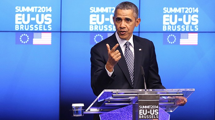 U.S. President Barack Obama addresses a news conference during a EU-U.S. summit at the European Council in Brussels March 26, 2014 (Reuters / Francois Lenoir)