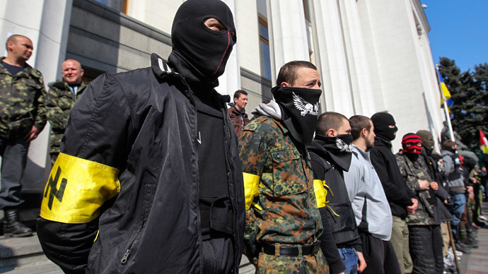 Members of the Ukrainian far-right radical group Right Sector stand outside the parliament in Kiev March 28, 2014.(Reuters /Valentyn Ogirenko)