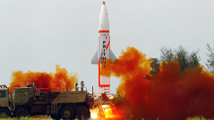 Prithvi surface to surface missile  launch in the Indian state of Orissa. (AFP Photo / Ministry Of Defence)