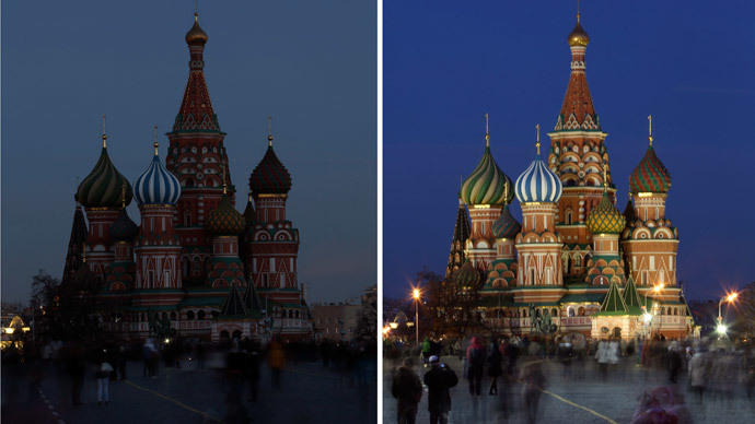A combination picture shows St. Basil's Cathedral before (R) and during Earth Hour in Moscow March 29, 2014. (Reuters / Sergei Karpukhin)