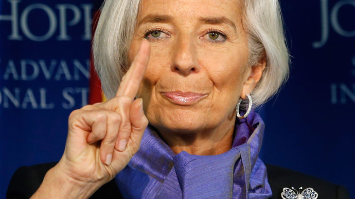 International Monetary Fund Managing Director Christine Lagarde gestures as she speaks about the global economy at the Johns Hopkins School of Advanced International Studies in Washington April 2, 2014. (Reuters / Kevin Lamarque)