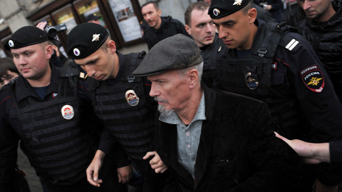 Radical politician Eduard Limonov detained during an unsanctioned protest in Moscow/ RIA Novosti / Sergey Kuznetsov