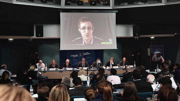 American National Security Agency (NSA) whistleblower Edward Snowden speaks to European officials via videoconference during a parliamentary hearing on mass surveillance at the European Council in Strasbourg, eastern France, on April 8, 2014. (AFP Photo / Frderick Florin)