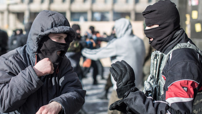 "Training in hand combat among opposition fighters from the nationalist organization ""Right sector"" in a camp on Independence Square in Kiev. (RIA Novosti/Andrey Stenin)"