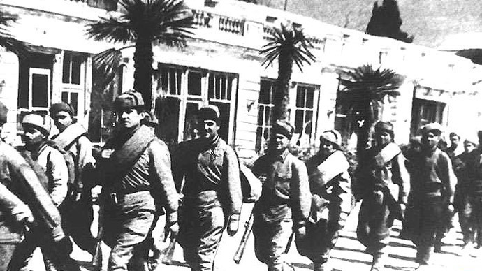 Yalta residents welcome soldiers of the Soviet Separate Coastal Army commanded by General Andrey Yeryomenko, who liberated them from the Nazi invaders, April 16, 1944.