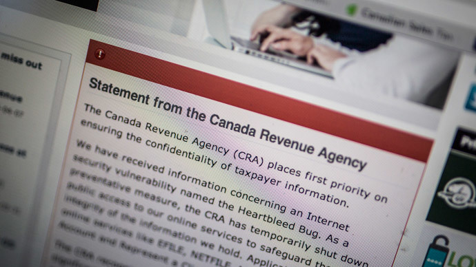 "The Canada Revenue Agency website is seen on a computer screen displaying information about an internet security vulnerability called the ""Heartbleed Bug"" in Toronto, April 9, 2014.(Reuters / Mark Blinch)"