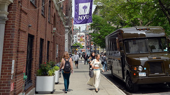 Flags fly from a New York University building in New York (AFP Photo)