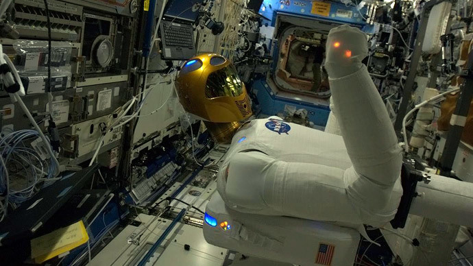 The Robonaut 2, the first humanoid robot in space, is pictured onboard the International Space Station in this handout photo courtesy of Col Chris Hadfield of the Canadian Space Agency.(Reuters / Col Chris Hadfield)