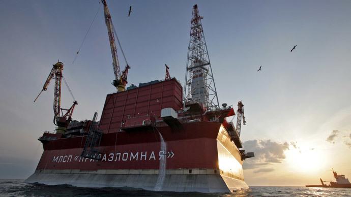 The Prirazlomnaya oil rig in the Barents Sea.(RIA Novosti / Igor Podgornyi)