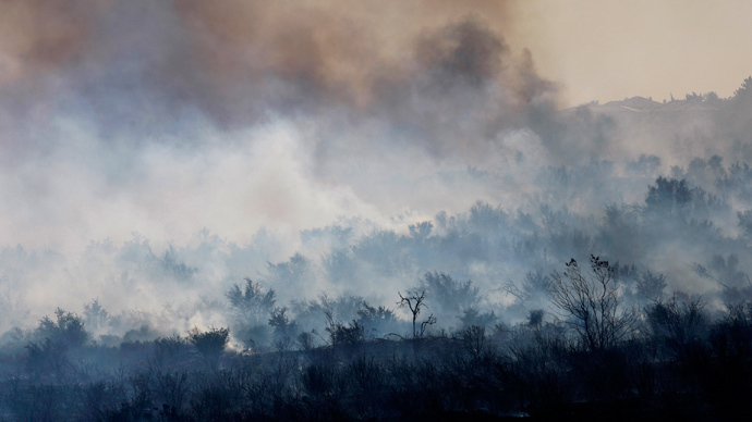 Smoke rises from a charred landscape as a wildfire driven by fierce Santa Ana winds spreads in Rancho Cucamonga, California, April 30, 2014 (Reuters / David McNew)