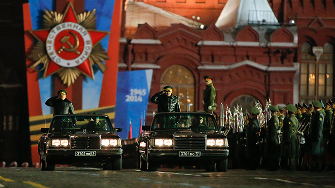 Russian Defence Minister Sergey Shoigu takes part in a rehearsal for the Victory parade on Moscow's Red Square May 5, 2014 (Reuters / Maxim Shemetov)