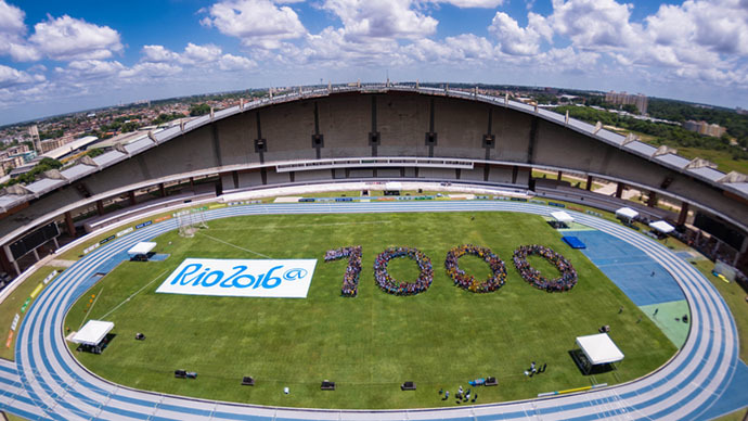 Handout image released by the Organizing Committee of the Rio 2016 Olympic and Paralympic Games showing the celebration of  the 1,000 days to the Rio 2016 Olympic Games milestone (AFP Photo / Alex Ferro)