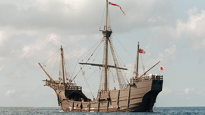 "A replica of Christopher Columbus' flagship ""Santa Maria"" (AFP Photo)"
