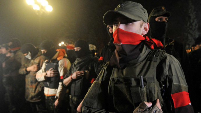 Right Sector protest in front of Ukrainian parliament in Kiev on March 27, 2014. (AFP Photo/Genya Savilov)