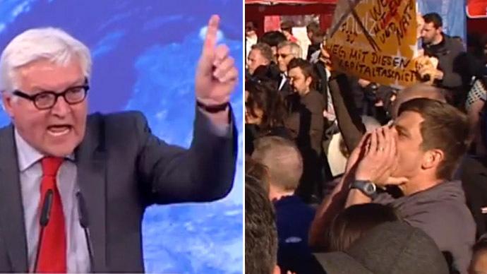 German Foreign Minister Frank-Walter Steinmeier (L) (Still from YouTube video/DIE WELT Video)