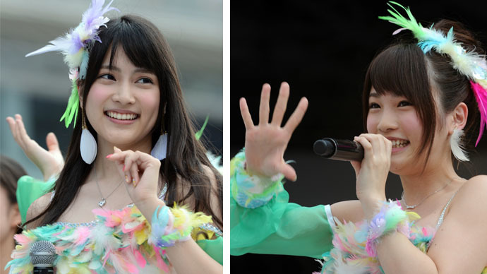 This combo of file photos shows Japanese girls' pop group AKB48 members Anna Iriyama (left) and Rina Kawaei (AFP Photo / Toshifumi Kitamura)