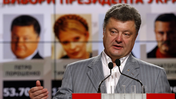 Ukrainian businessman, politician and presidential candidate Petro Poroshenko speaks during his news conference in Kiev, May 26, 2014. (Reuters)