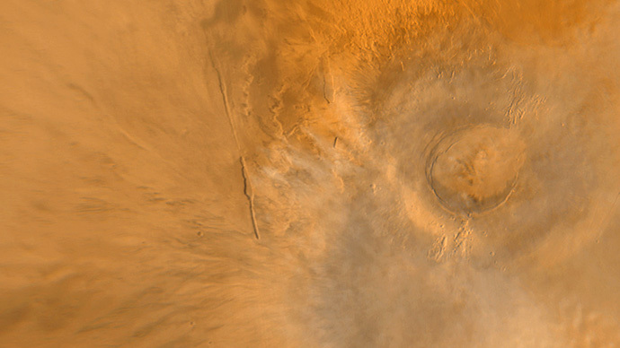 Wide Angle View of Arsia Mons Volcano (NASA/JPL/MSSS)
