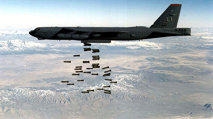 This undated file picture from the US Air Force (USAF) shows a US B-52H bomber dropping a load of M117 750lb bombs at an undisclosed location. (AFP Photo)