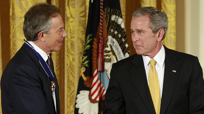 Former British Prime Minister Tony Blair (left) and former U.S. President George W. Bush (Reuters / Jason Reed)