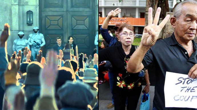 Screenshot from the film Hunger Games (left). Photo of anti-coup protesters on June 1 taken from Twitter user Nok_KN (right).