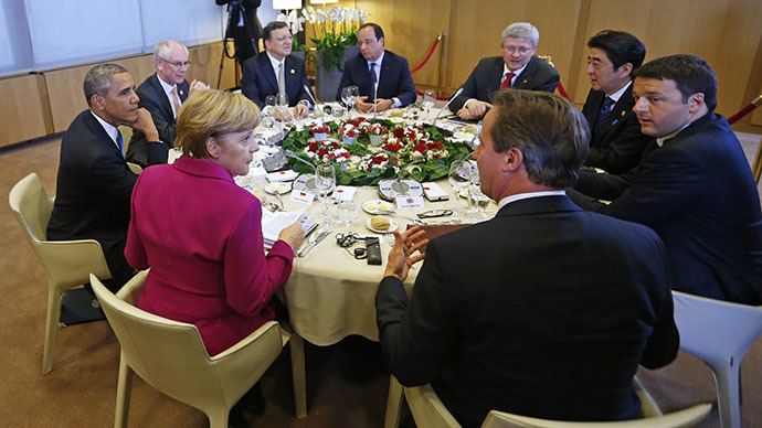 A G7 leaders meeting at European Council headquarters in Brussels June 4, 2014 (Reuters / Yves Herman)