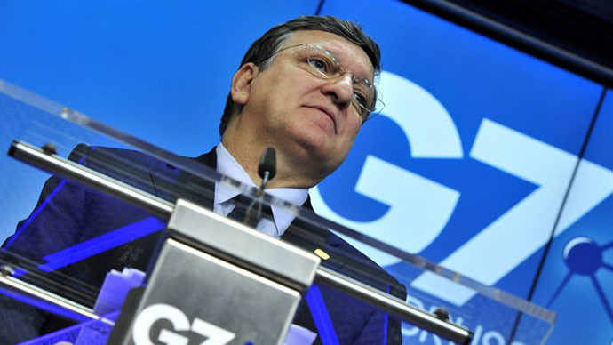Head of the European Commission Jose Manuel Barroso attends a press conference on the last day of the G7 summit at the European Council headquarters on June 5, 2014 in Brussels. (AFP Photo / Georges Gobet)