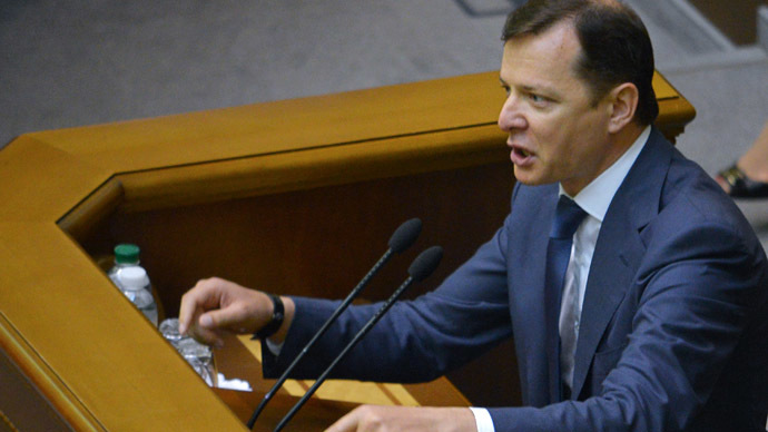 Leader of the Radical Party Oleg Lyashko at the Ukrainian Verkhovna Rada meeting. (RIA Novosti/Evgeny Kotenko)