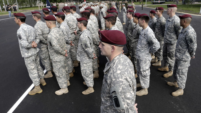 "U.S. army paratroopers attend opening ceremony of NATO military exercise ""Saber Strike"" in Adazi June 9, 2014. (Reuters/Ints Kalnins)"