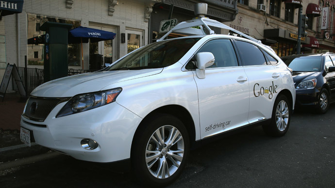 Googles Lexus RX 450H Self Driving Car is seen parked on Pennsylvania Ave. on April 23, 2014 in Washington, DC.(AFP Photo / Mark Wilson)