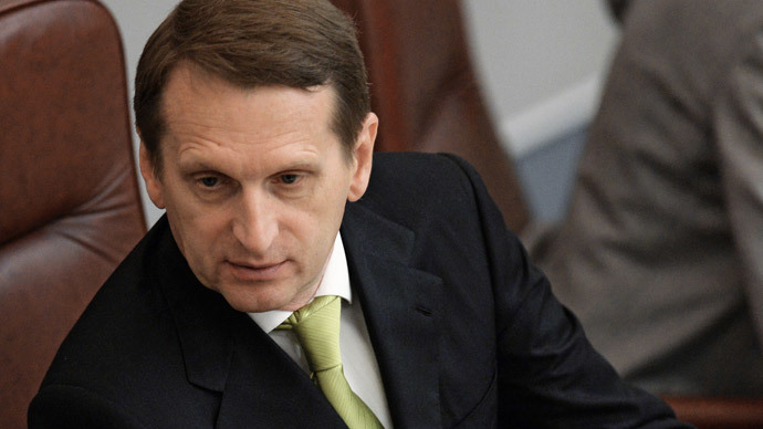State Duma Speaker Sergei Naryshkin at a State Duma plenary meeting.(RIA Novosti / Sergey Kuznecov)